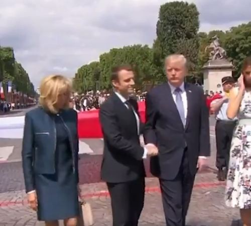 Watch This Never Ending Farewell Handshake Between Donald Trump And France President, Emmanuel Macron