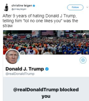 Lol! Donald Trump Blocks Chrissy Teigen On Twitter