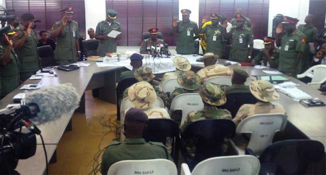 Photo: Court Martial Sitting In Borno Sends Three Soldiers To Jail For Illegal Possession Of Arms And Ammunition