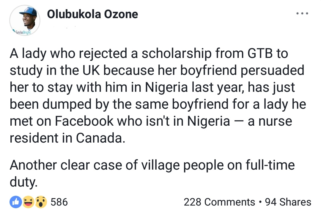Girl Rejects Scholarship To The UK For Her Boyfriend, Only For Him To Dump Her Later For Someone Who Lives Abroad