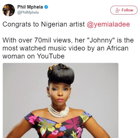 Yemi Alade's 'Johnny' Becomes The Most Watched Video By An African Woman On YouTube With Over 72 Million Views