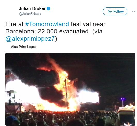 Over 20000 concert-goers evacuated after Tomorrowland stage catches fire