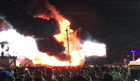 Spain music festival hit by huge blaze on stage