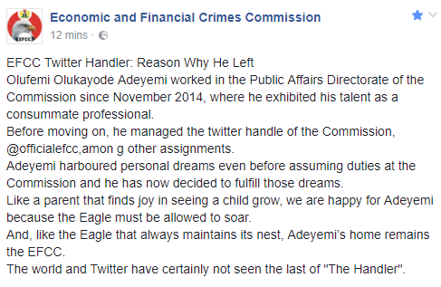 EFCC releases statement explaining why its former twitter handler left the commission