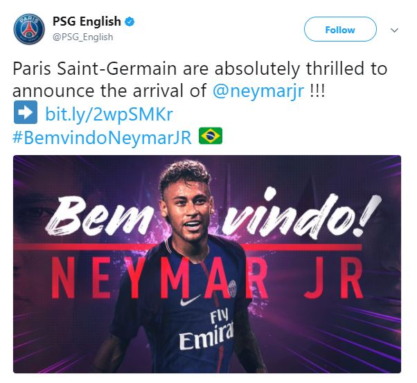 PSG signs Neymar for 5-years in World Record deal