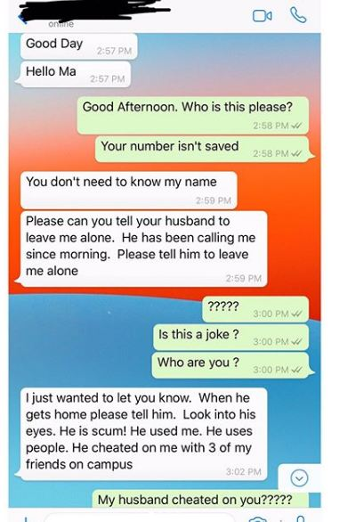 Sidechick reports man to his wife after he cheated on her with her friends