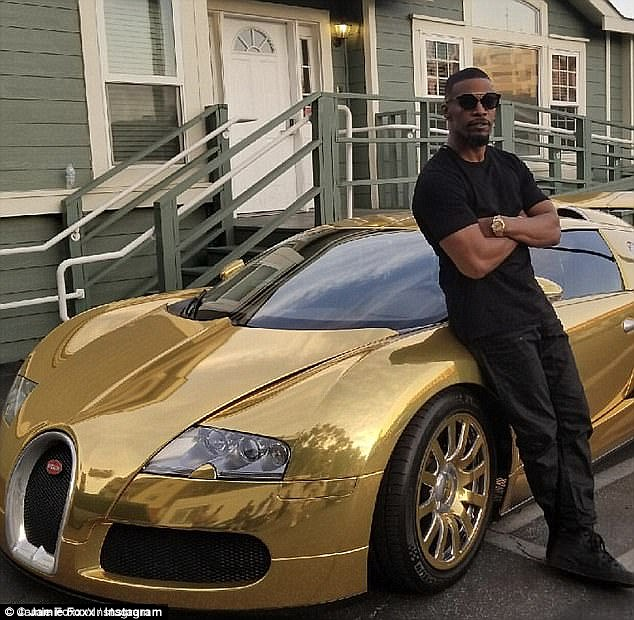 Jamie Foxx makes grand entrance at Nobu restaurant in flashy chrome Bugatti