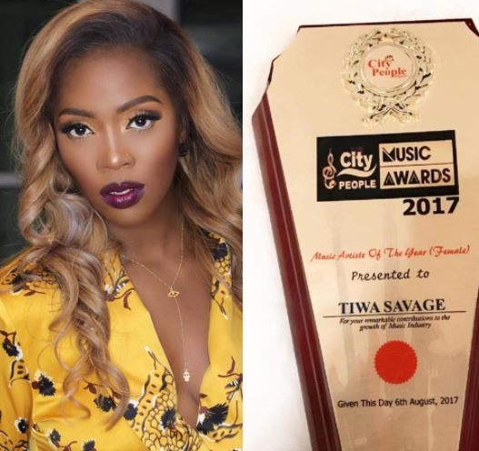 Tiwa Savage wins Artist of the year at City People Music Awards