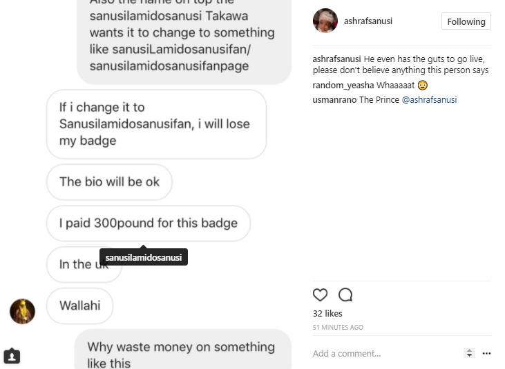 Son of the Emir of Kano, Sanusi, reveals that the operator of the verified IG account impersonating his father is an unknown person