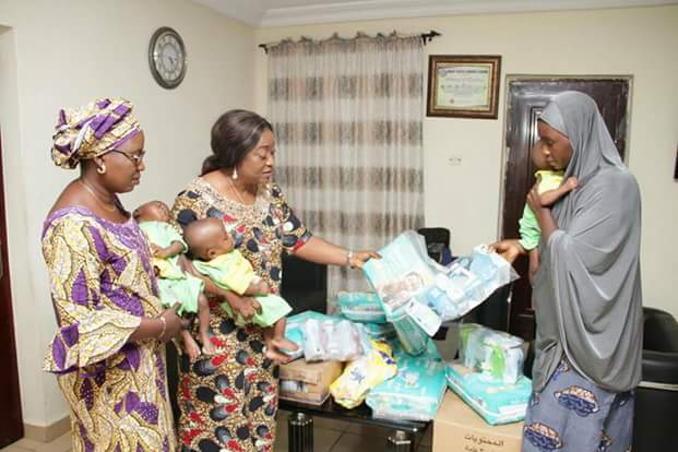 Photos: Kogi State First Lady comes to the aid of woman whose husband ran away after she gave birth to triplets