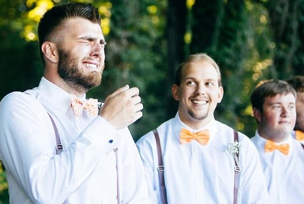 See the sweet moment a groom is reduced to tears after seeing his bride walk down the aisle to him (Photos)