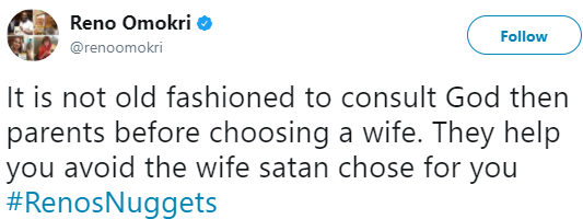 Consult God, then your parents to avoid choosing the wife satan chose for you- Reno Omokri advises men