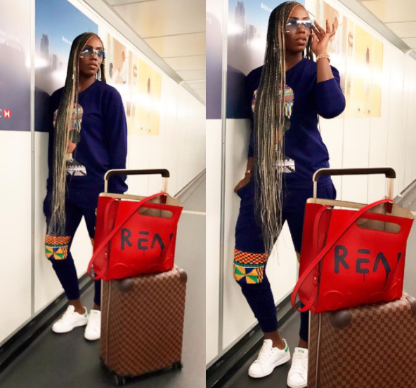 Photos: Tiwa Savage and her long braids travel in style