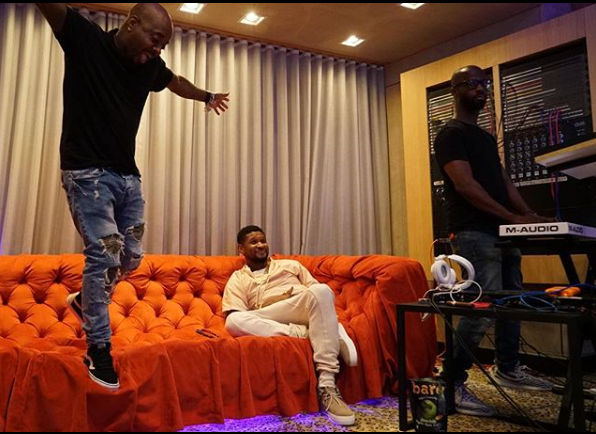 Usher doesn't seem bothered by 'Herpes' lawsuits filed against him as he chills in the studio