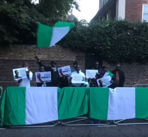 Photos from the protest by Nigerians in front of Abuja House in London yesterday