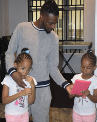 Photos of  9ICE's twin girls Hazeeza & Hadiza