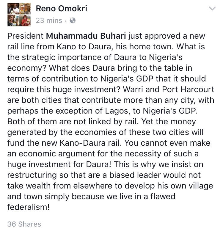 On President Buhari's Approval of a Kano-Daura Railway- Reno Omokri