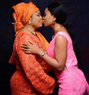 Entertainment Uncategorized  Actress Regina Daniels shares photo of herself giving her mum a kiss