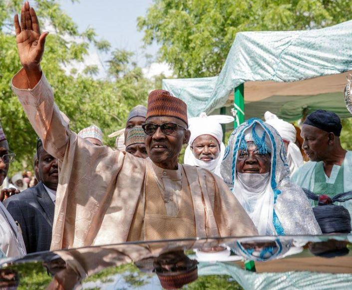 Photos: President Buhari observes Eid El Kabir prayers at Daura Eid Ground