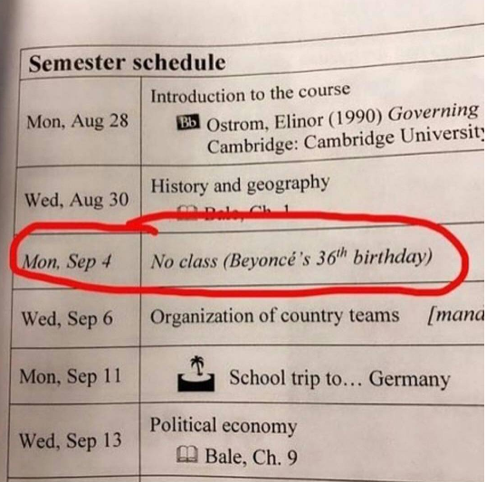 School declares there'll be no class on Beyonce's birthday