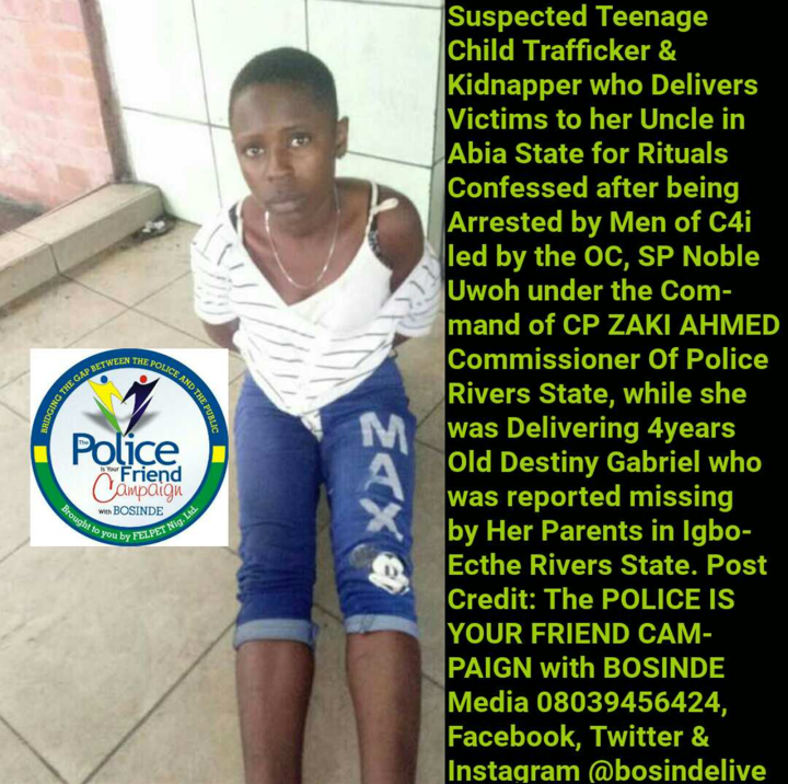 Suspected teenage kidnapper who delivers victims to her uncle for rituals, arrested in Rivers State