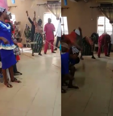 VIRAL VIDEO: Church members flog bare floor, claiming they are flogging the devil out of their lives