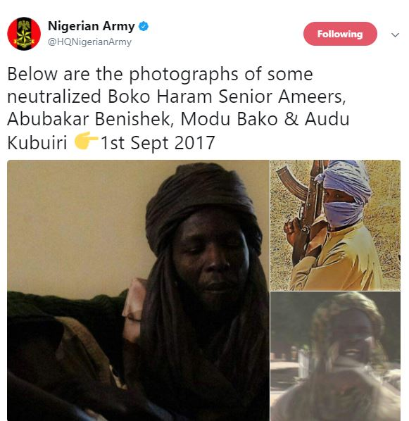 Nigerian Army share photos of some neutralized Boko Haram Members