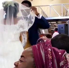 Checkout actor, Seun Ajayi's hilarious reaction after unveiling his wife on their wedding day (watch)