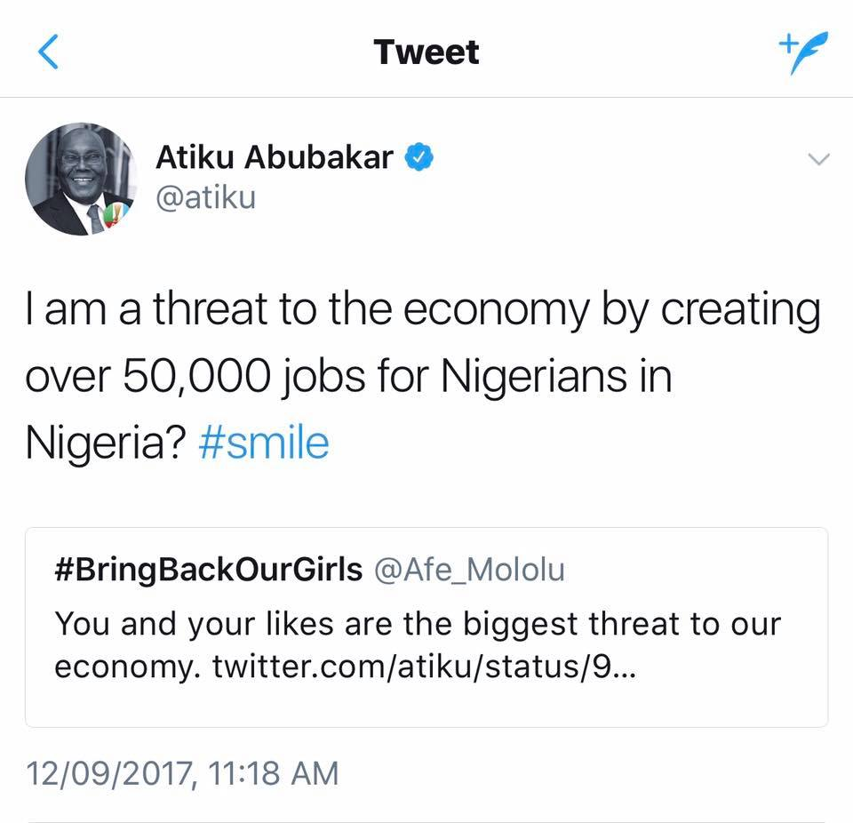 Atiku Abubakar replies twitter user who said he is one of the biggest threat to Nigeria's economy