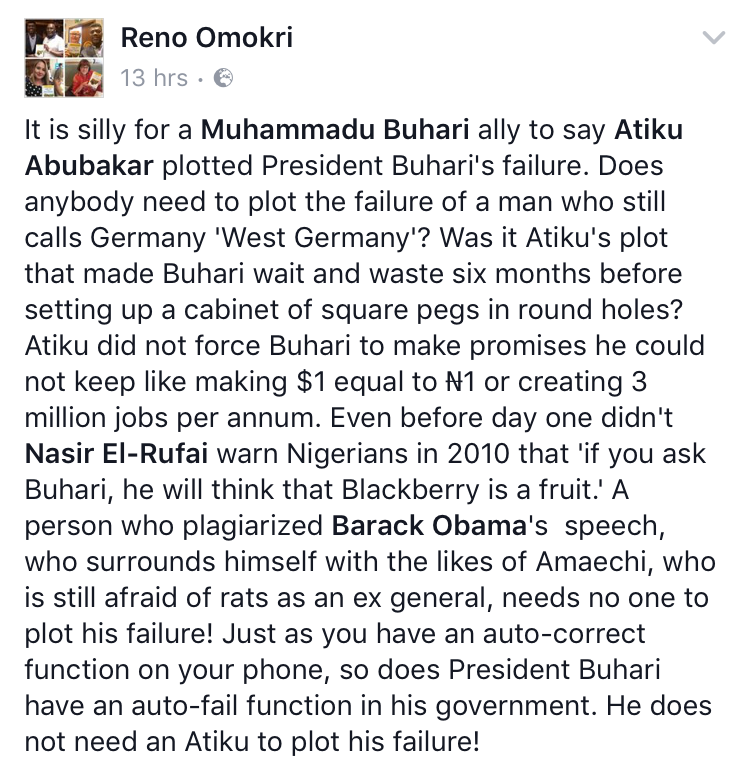 Reno Omokri comes to Atiku's defense in his tiff with Buhari