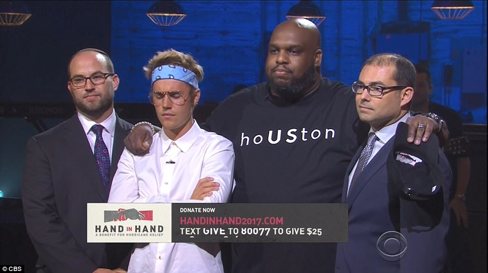 Justin Bieber offers prayer on stage as Leonardo DiCaprio, Jamie Foxx, Oprah Winfrey, DJ Khaled, Usher and other celebs join forces for Hand In Hand hurricane relief telethon (Photos)