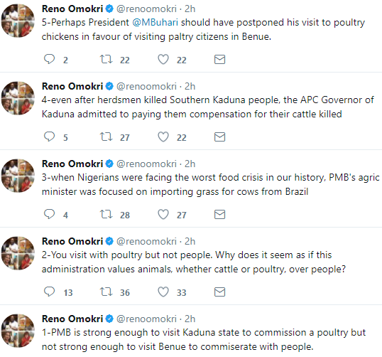 'Why does it seem as if this administration values animals, whether cattle or poultry, over people?' - Reno Omokri asks