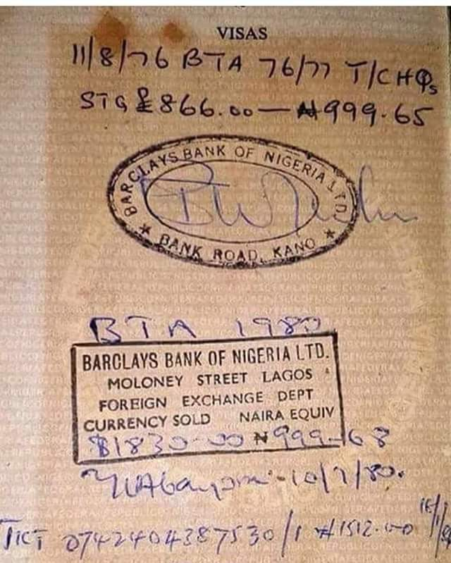 Photo: Pound to Naira exchange rate in 1980 - when £866 was N999.65