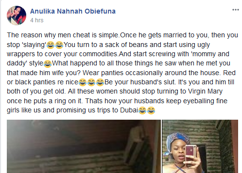 Nigerian lady gives reasons married men cheat and promise girls like her trips to Dubai