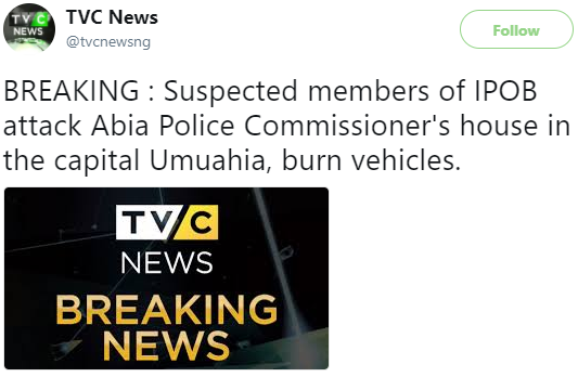 Home of the Commissioner of Police in Abia state attacked by suspected members of IPOB