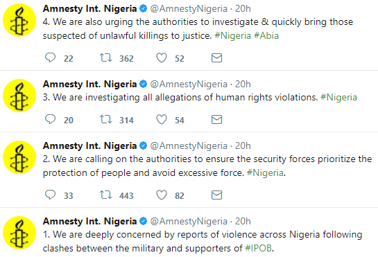 Amnesty International to investigate acts of human rights violation during clash between Army and IPOB members in Abia