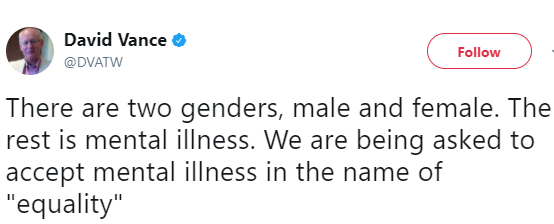 Man gets savage response for tweeting; 'there are two genders, male and female; the rest is mental illness'