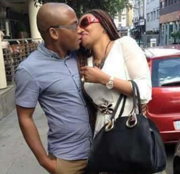 Checkout this throw back photo of IPOB leader, Nnamdi Kanu, kissing his wife on the streets of London