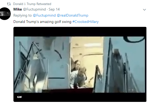 President Trump retweets video of him hitting Hillary Clinton with a golf ball