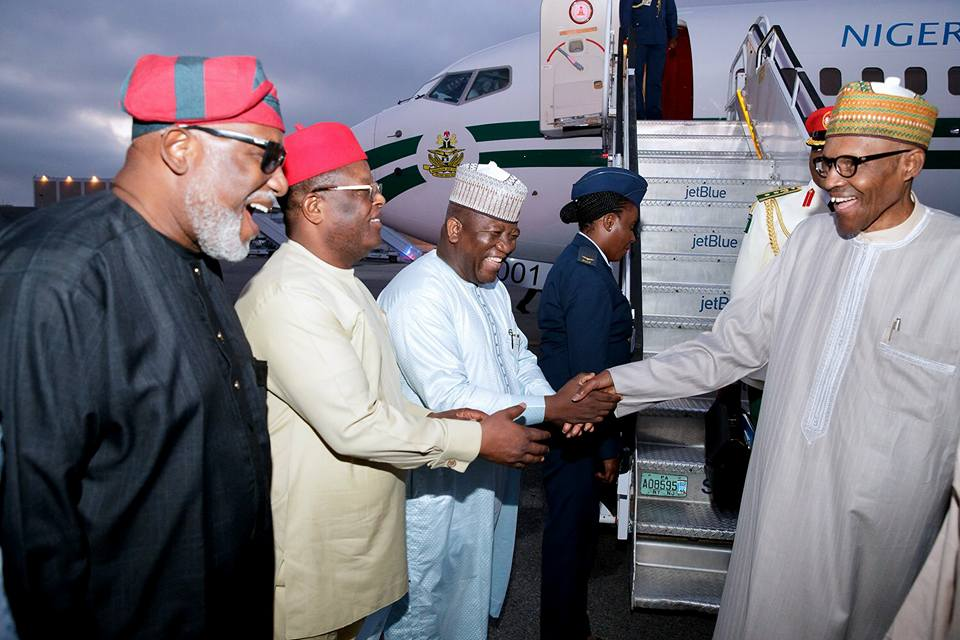 Photos: President Buhari arrives New York for the 72nd UN General Assembly meeting