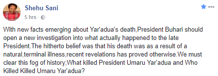 """What/Who killed President Umaru Yar'adua"" - Senator Shehu Sani demands for answers after El-Rufai's controversial statement"