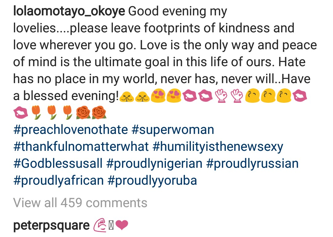 Peter Okoye supports wife, Lola Omotayo after she posts message preaching about love and kindness!