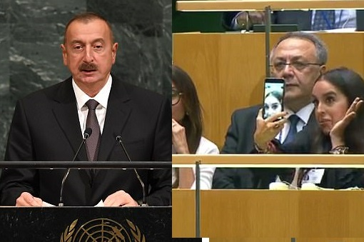 Daughter of Azerbaijani president sparks outrage after she's filmed taking SELFIES during father's speech on Genocide at the UN (Photos/Video)