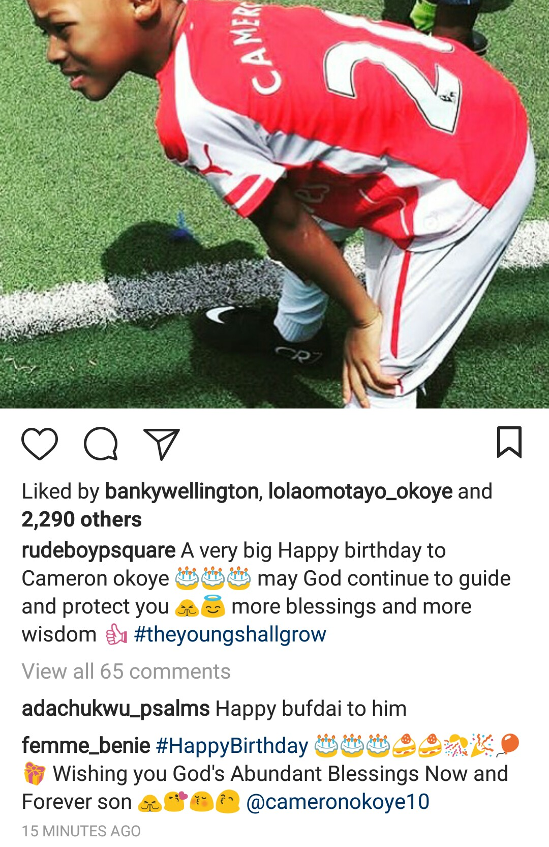 Psquare's Paul Okoye celebrates his nephew on his 9th birthday...