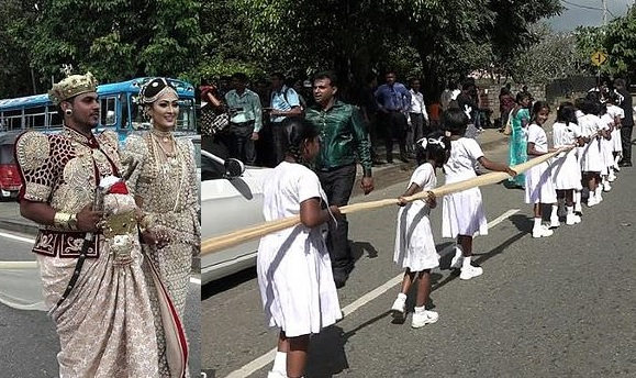 Sri Lankan couple being investigated for using 250 children to carry 2-mile long wedding dress, while another 100 served as flower girls (Photos/Video)