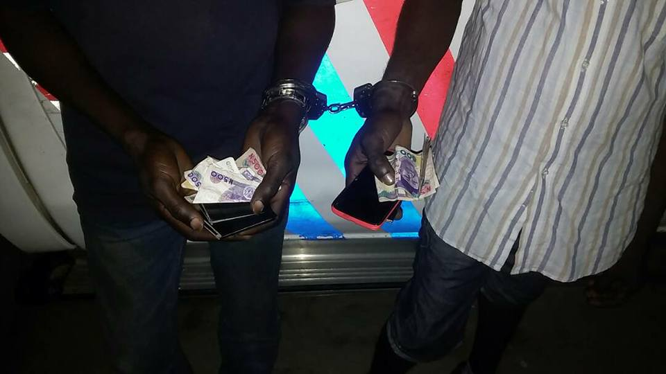 Photos: RRS officers arrests two traffic robbers that attack road-users along the Lekki expressway