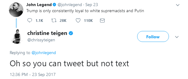 Again... Chrissy Teigen calls John Legend out on twitter..and he ignores her!