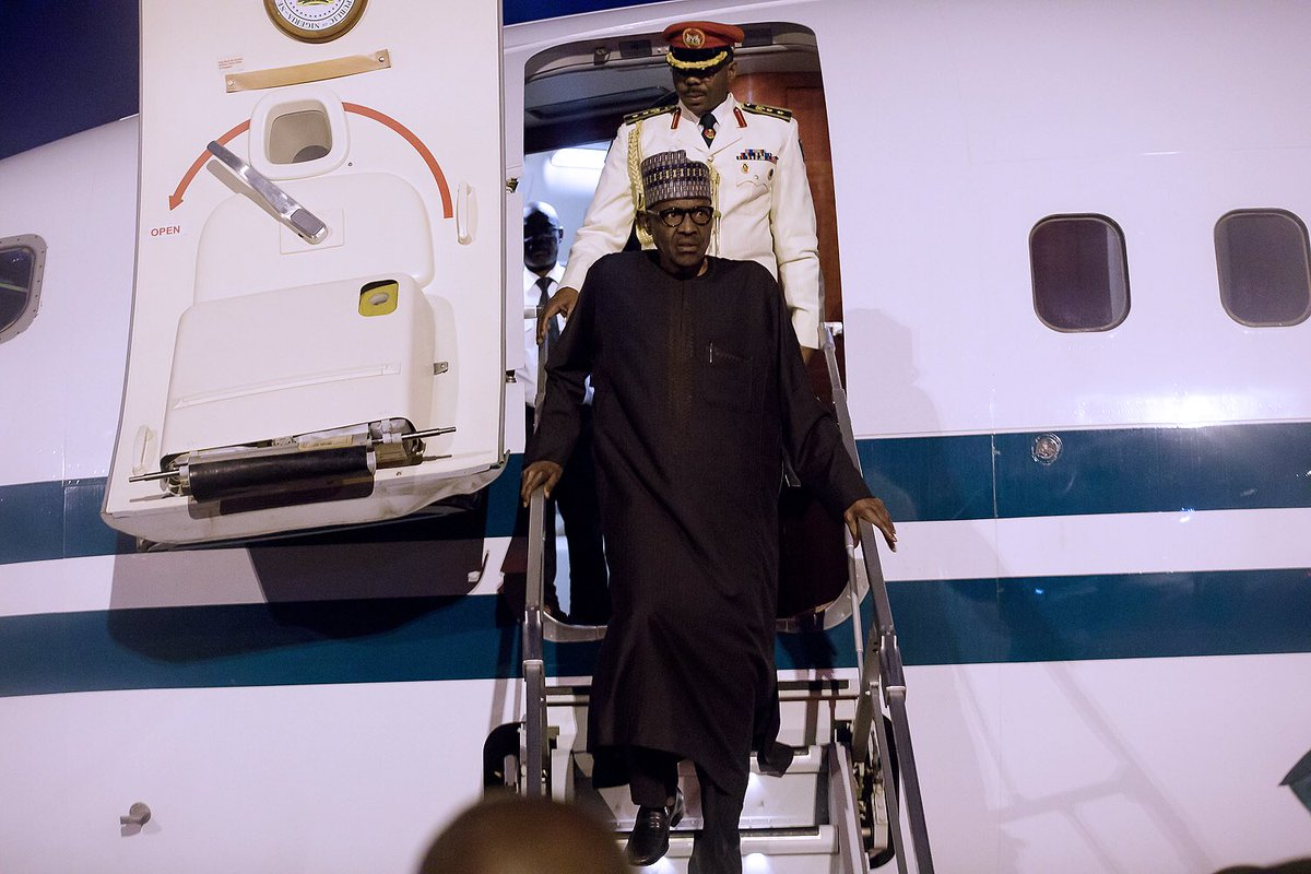 Photos: President Buhari returns to Abuja after attending the UN General Assembly in New York and a stopover in London