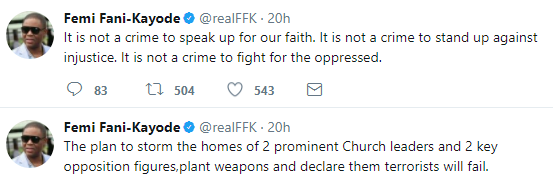 """""""There are plans to storm the homes of two christian leaders and opposition figures to plant weapons and declare them terrorists"""" FFK alleges"""