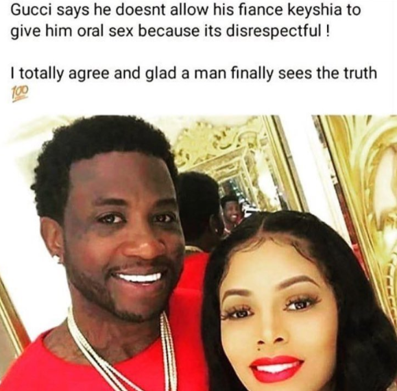 Wow- Gucci Mane Doesn't Allow Wife to Give Him Head- 'Oral